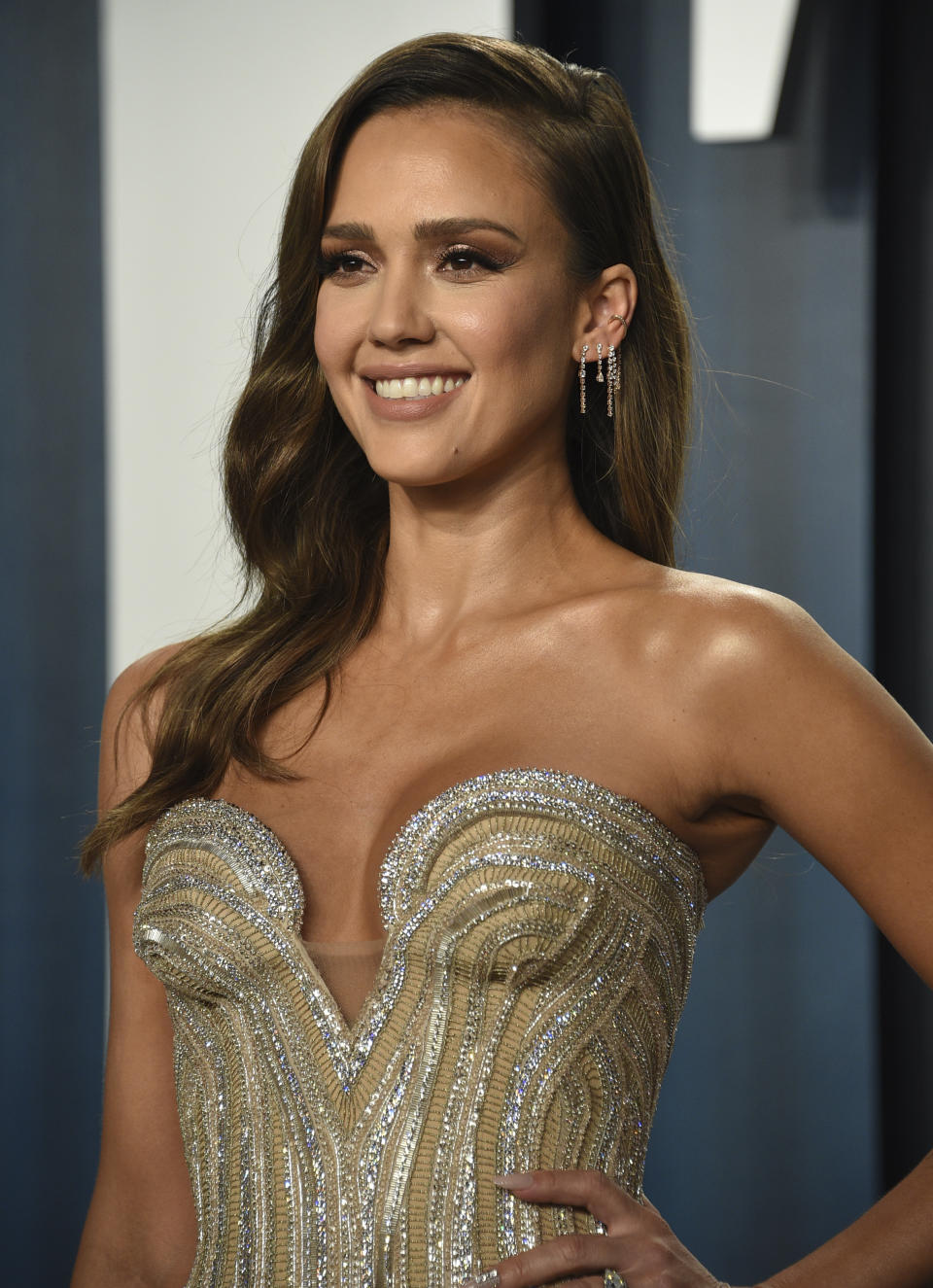 Jessica Alba arrives at the Vanity Fair Oscar Party on Sunday, Feb. 9, 2020, in Beverly Hills, Calif. (Photo by Evan Agostini/Invision/AP)