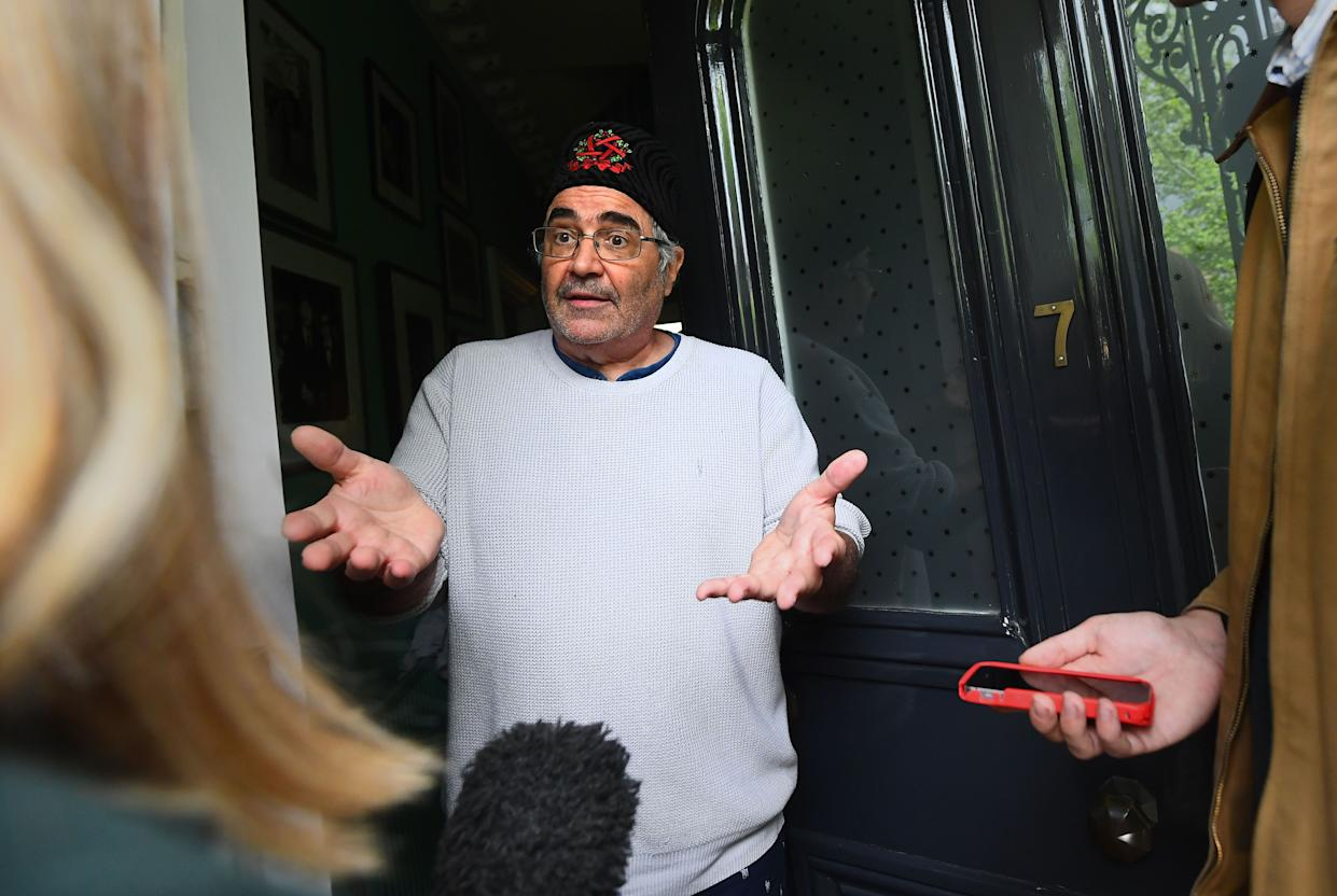 Danny Baker speaking at his London home after he was fired by BBC Radio 5 Live for tweeting a joke about the Duke and Duchess of SussexÕs son using a picture of a monkey. (Photo by Victoria Jones/PA Images via Getty Images)