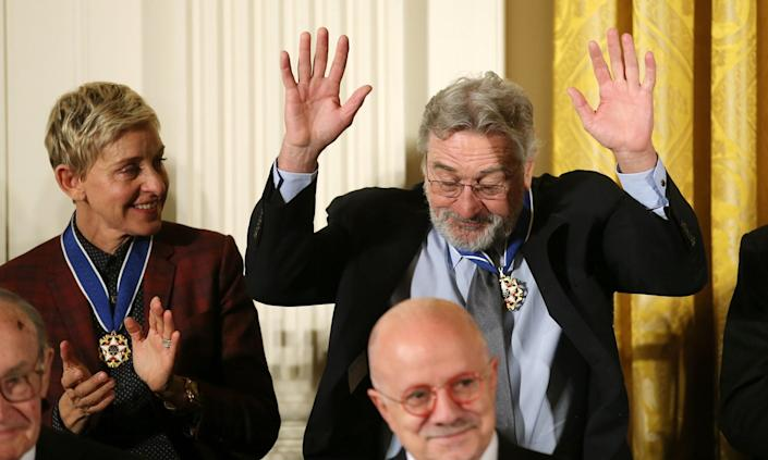 <p>Comedian Ellen DeGeneres applauds actor Robert De Niro at a ceremony awarding the Presidential Medal of Freedom in the East Room of the White House, Nov. 22, 2016. (Carlos Barria/Reuters) </p>