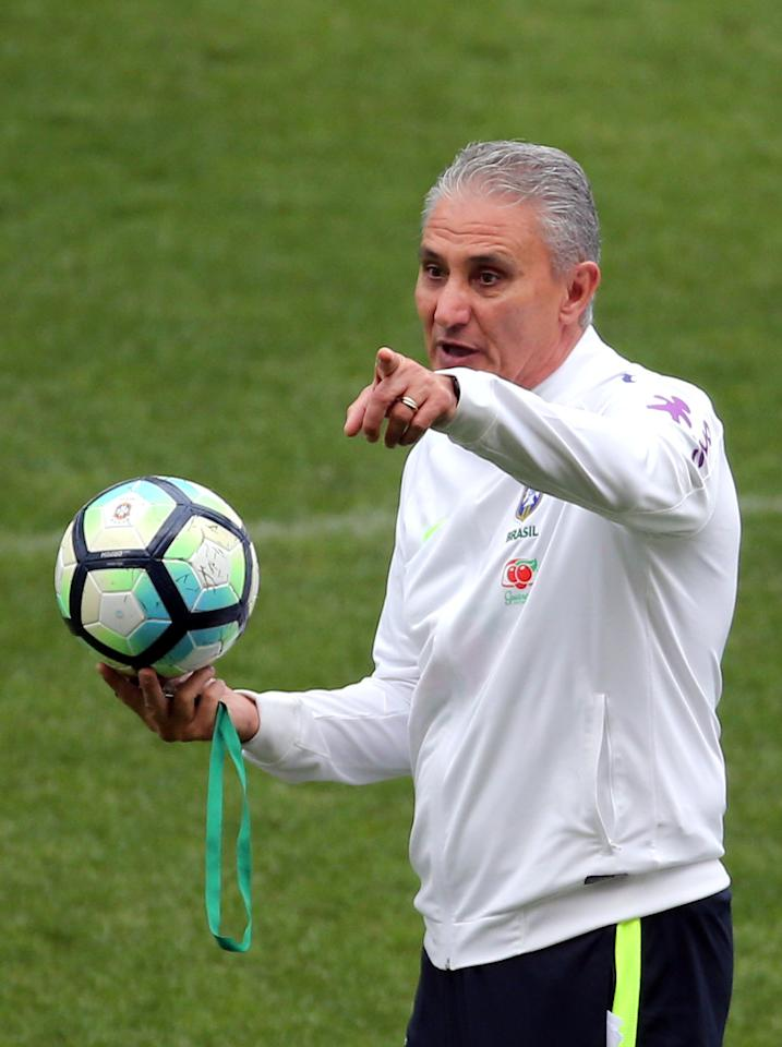 Soccer Football - Brazil's national soccer team training - World Cup 2018 Qualifiers - Arena Corinthians stadium, Sao Paulo, Brazil - 27/3/17.  Head coach Tite attends a training session. REUTERS/Paulo Whitaker