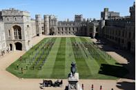 <p>Members of the military have a moment of reflection in the Quadrangle at Windsor Castle, which was accompanied by a national minute's silence at 3pm. </p>