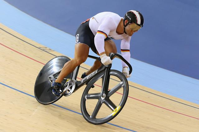 LONDON, ENGLAND - AUGUST 04: Robert Forstemann of Germany in action during the Men's Sprint Track Cycling 1/8 Finals on Day 8 of the London 2012 Olympic Games at Velodrome on August 4, 2012 in London, England. (Photo by Cameron Spencer/Getty Images)