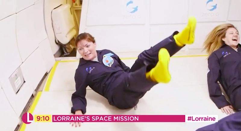 Lorraine has her first pang of weightlessness (Photo: ITV)