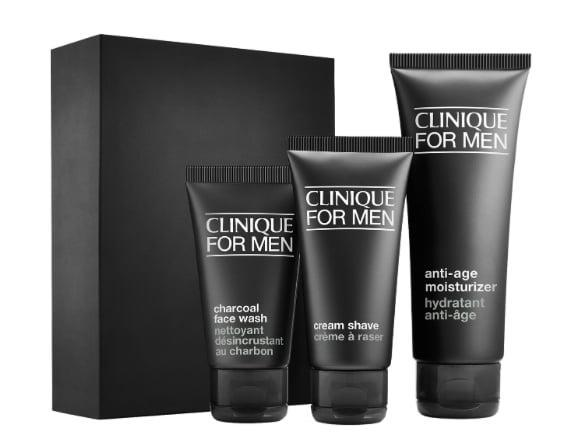 <p>You know that saying 'we're not getting any younger?' Well, sadly, it's true for all of us but it's never too soon to think about forming good skin care habits and working to keep skin as supple as possible. That's where the <span>Clinique For Men Anti-Aging Starter Kit</span> ($15) comes in. We're not saying give this to a family member who will bristle and think you're calling him old, but maybe someone closer to your same age since, like we said, we're not getting any younger. This kit includes a charcoal face wash, cream shave, and anti-age moisturizer to combat lines, wrinkles, and dullness. Only the moisturizer mentions anti-aging on the label so, if need be, remove that from the set and give it to someone who's a little less sensitive.</p>