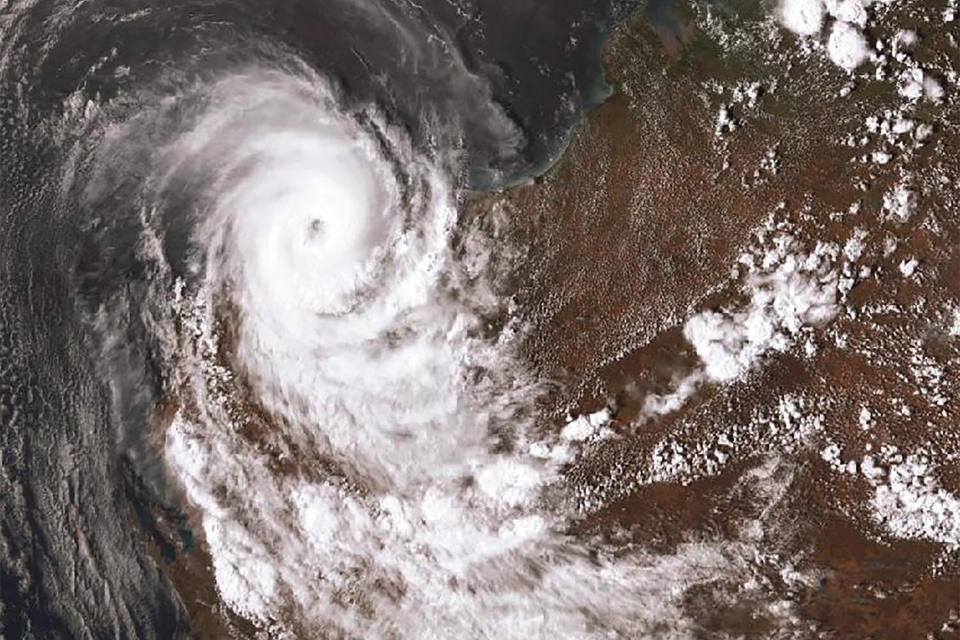 A satellite image acquired from the Australian Bureau of Meteorology shows Tropical Cyclone Damien. Source: AAP