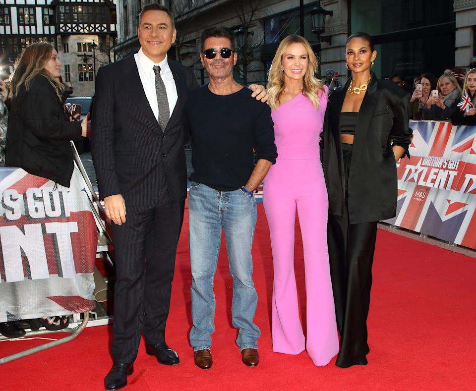 LONDON, UNITED KINGDOM - JANUARY 19 2020: David Walliams Simon Cowell, Alesha Dixon and Amanda Holden attend the Britain's Got Talent Auditions Photocall at the London Palladium.- PHOTOGRAPH BY Keith Mayhew / Echoes Wire/ Barcroft Media (Photo credit should read Keith Mayhew / Echoes Wire / Barcroft Media via Getty Images)