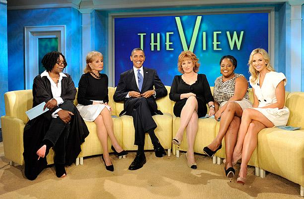 """President Barack Obama made a state visit to """"The View"""" Wednesday, marking the first time in history a sitting U.S. President has appeared on a daytime talk show. Personalities including ex co-host Rosie O'Donnell and former VP candidate Sarah Palin questioned his decision to appear on what Rosie called """"fluffy daytime TV."""" ABC/Steve Fenn"""