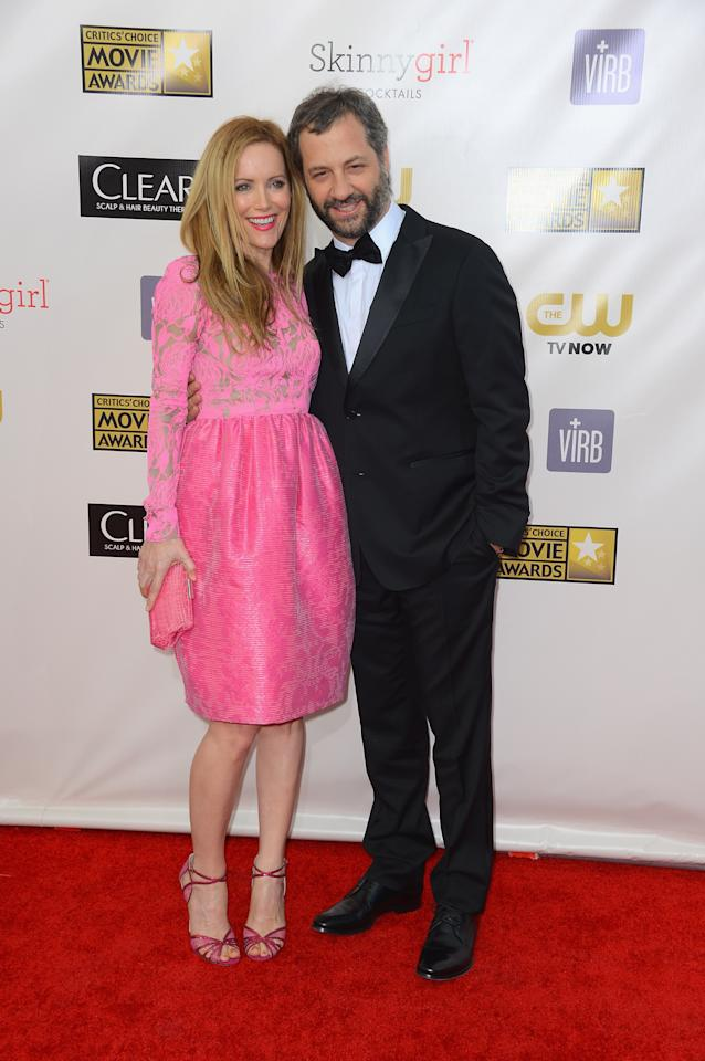 SANTA MONICA, CA - JANUARY 10:  Actress Leslie Mann and director Judd Apatow arrive at the 18th Annual Critics' Choice Movie Awards at Barker Hangar on January 10, 2013 in Santa Monica, California.  (Photo by Frazer Harrison/Getty Images)