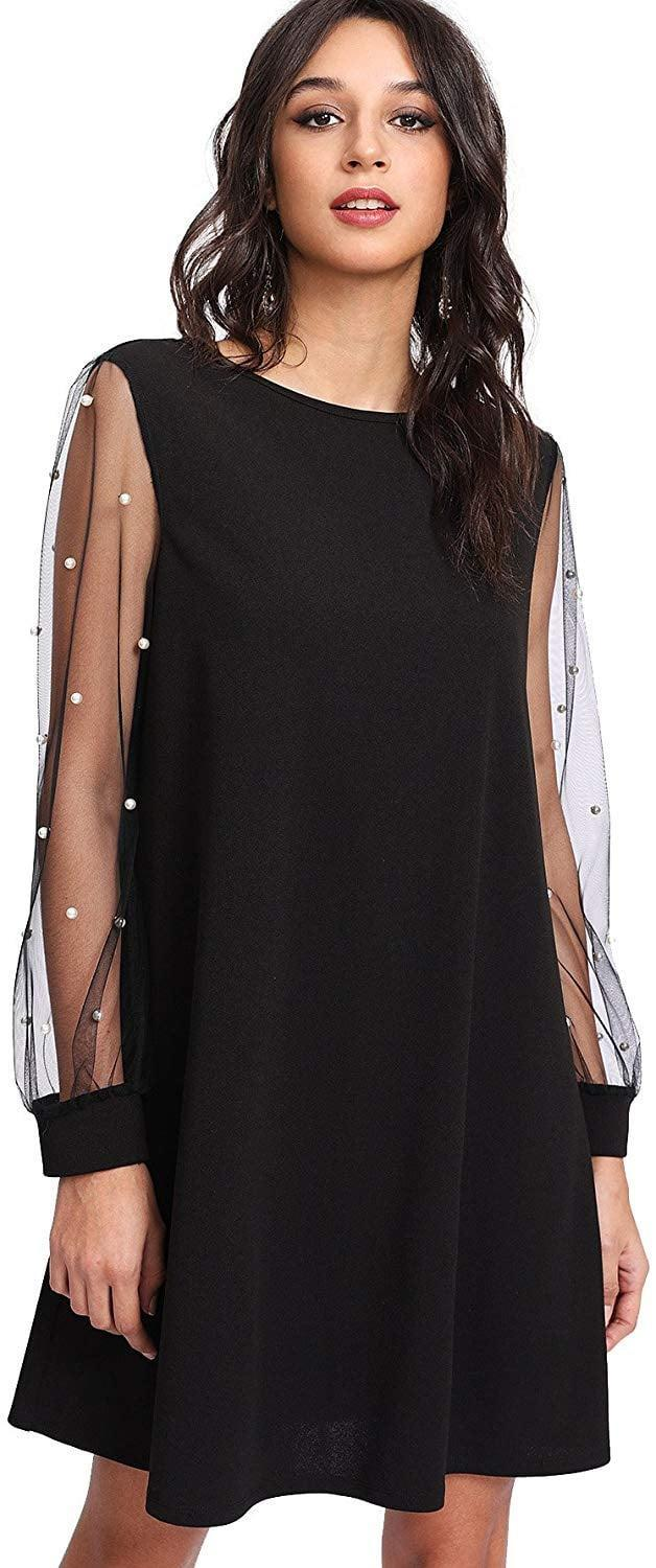 <p>We love this <span>DIDK Tunic Dress with Mesh Bishop Sleeves</span> ($28) for a night out or dinner party.</p>