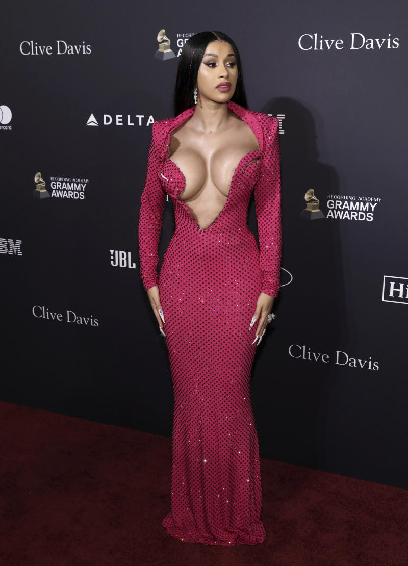 Cardi B arrives at the Pre-Grammy Gala And Salute To Industry Icons at the Beverly Hilton Hotel on Saturday, Jan. 25, 2020, in Beverly Hills, Calif. (Photo by Mark Von Holden/Invision/AP)
