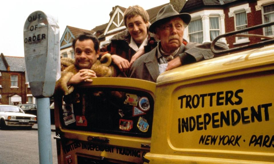 Key cast members David Jason as Del Boy, Nicholas Lyndhurst as Rodney and Lennard Pearce as Grandad in Only Fools And Horses (Credit: BBC)