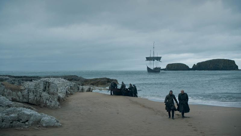 Jon and Varys (Conleth Hill) take a stroll on the beach in 'Game of Thrones' (Photo: HBO)