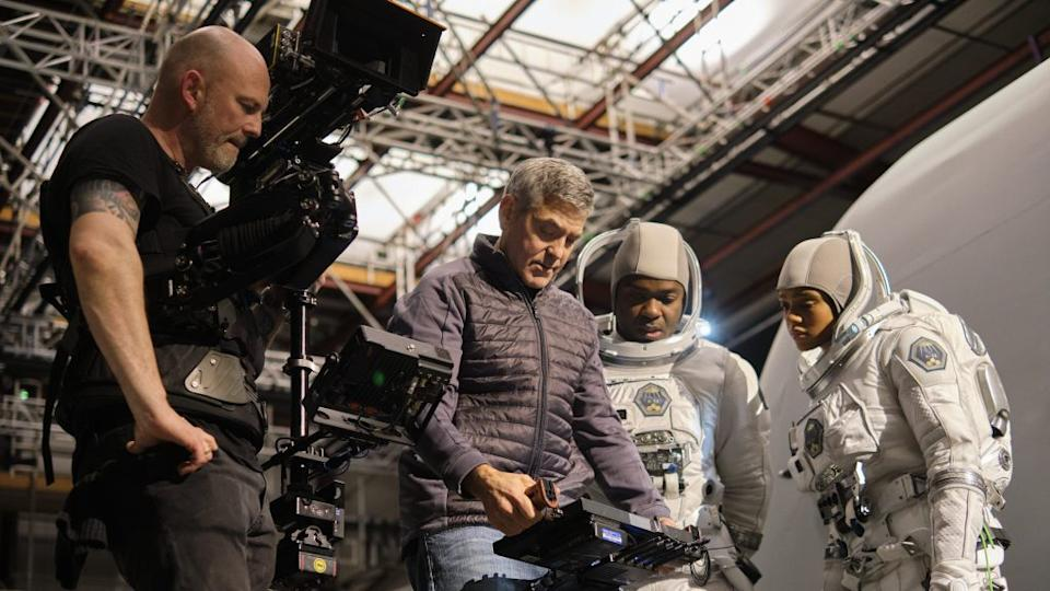 "George Clooney on the set of ""The Midnight Sky"" (Netflix)"