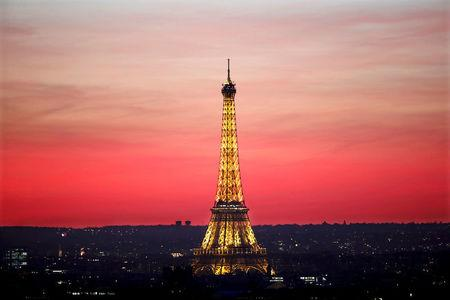 FILE PHOTO: The Eiffel Tower is seen at sunset in Paris