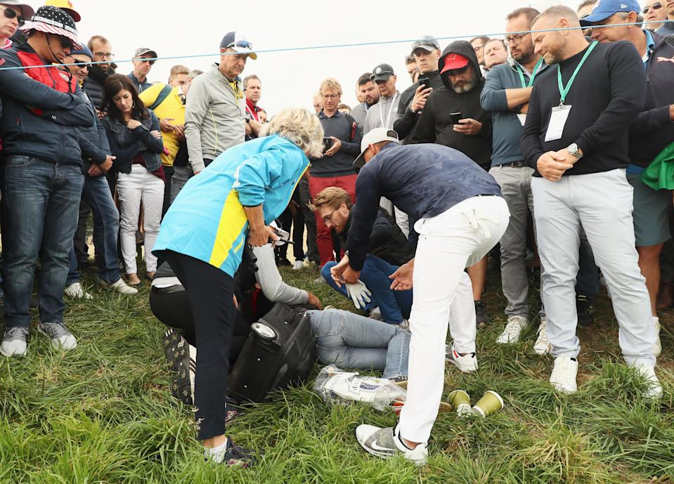 <span>Brooks Koepka</span> went to check on a woman who was hit in the eye by a stray shot at the Ryder Cup. (Photo: Getty Images).