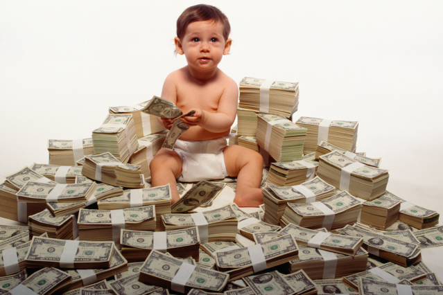 This lucky baby has a trust fund waiting for him when he grows up.