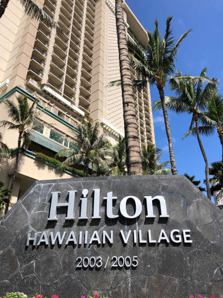 The Grand Waikikian at Hilton Hawaiian Village is shown in Honolulu on Wednesday, Aug. 7, 2019. Hawaii authorities are investigating three fires that were intentionally set in three different high-rise resort hotels nearWaikiki Beachover the past few days.(AP Photo/Caleb Jones)