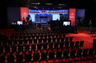Preparations take place for the second Presidential debate between President Donald Trump and Democratic presidential candidate, former Vice President Joe Biden at Belmont University, Thursday, Oct. 22, 2020, in Nashville, Tenn. (AP Photo/Patrick Semansky)