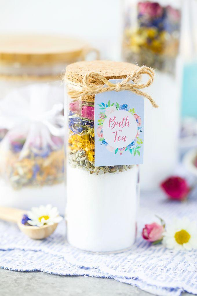 """<p>For mom, a night of self-care consists of a bubble bath followed by a cup of hot tea. Give her the best of both worlds with this bath tea — for bathing, not drinking — made with epsom salt, lavender, chamomile, calendula, roses, and cornflowers. </p><p><em><a href=""""https://apumpkinandaprincess.com/how-to-make-bath-tea/"""" rel=""""nofollow noopener"""" target=""""_blank"""" data-ylk=""""slk:Get the tutorial at A Pumpkin & A Princess »"""" class=""""link rapid-noclick-resp"""">Get the tutorial at A Pumpkin & A Princess »</a></em><br></p>"""