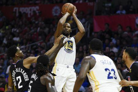 Apr 18, 2019; Los Angeles, CA, USA; Golden State Warriors forward Kevin Durant  (35) attempts a shot during the second half against the Los Angeles Clippers in game three of the first round of the 2019 NBA Playoffs at Staples Center. Mandatory Credit: Kelvin Kuo-USA TODAY Sports