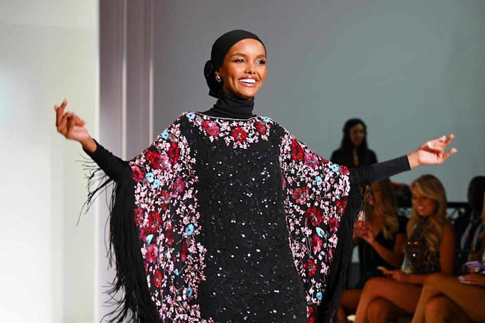Halima Aden modelling during Sherri Hill's Spring/ Summer 2020 NYFW show (Getty Images)