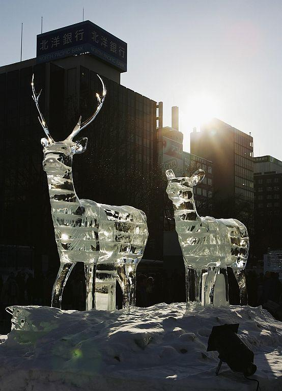 Ice Sculptures are displayed at Odori Koen during the 57th Sapporo Snow Festival.