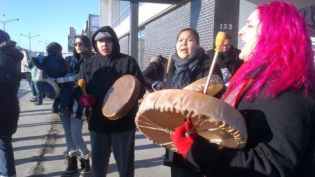 Members of the Treaty 7 First Nations stage an Idle No More protest on 16th Avenue N.W.