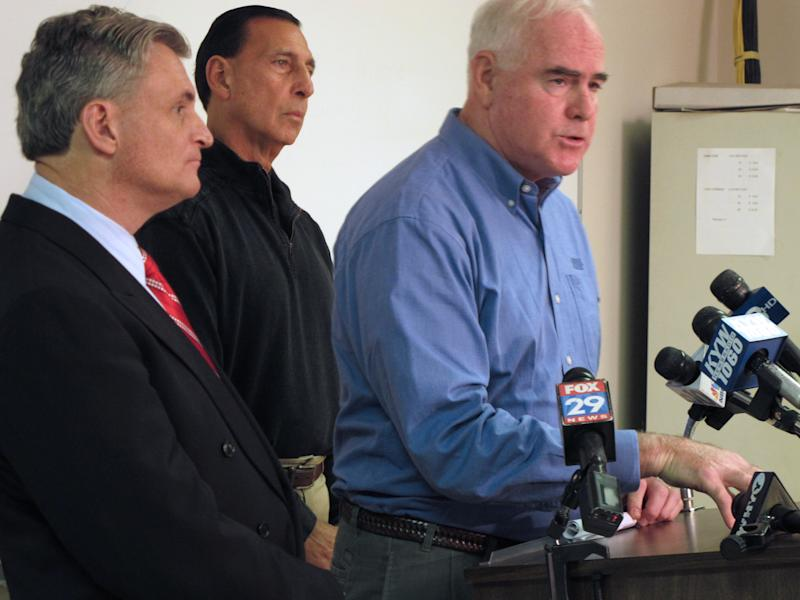U.S. Rep. Pat Meehan R-Pa.,right, speaks as Reps. Rob Andrews, D-N.J., left, and Frank LoBiondo, R-N.J., listen at a news conference in Clarksboro, N.J. on Thursday, Dec. 6, 2012. The representatives say there should be a deeper look at the causes and aftermath of the Nov. 30 train derailment in Paulsboro, N.J. (AP Photo/Geoff Mulvihill)