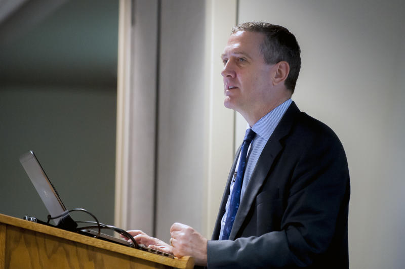 FILE - In this Friday, July 20, 2018 file photo, James Bullard, chief executive officer and president of the Federal Reserve Bank of St. Louis, speaks during a Glasgow-Barren County Chamber of Commerce meeting in Glasgow, Ky. Bullard dissented from the September 2019 quarter-point rate cut in favor of a bigger half-point cut. (Bac Totrong/Daily News via AP)