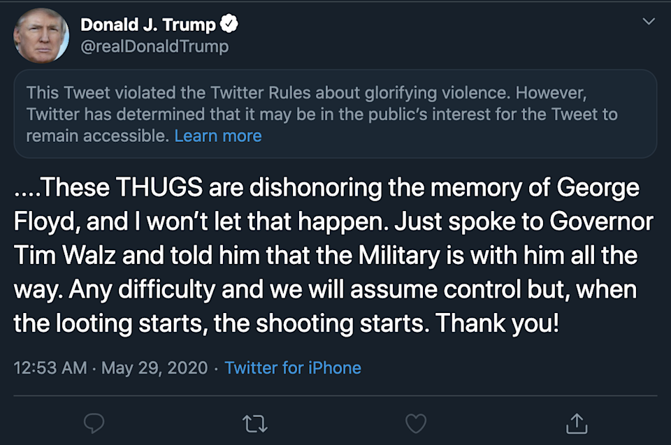 Trump's tweet that violated Twitter's terms of service. (Image: Twitter)