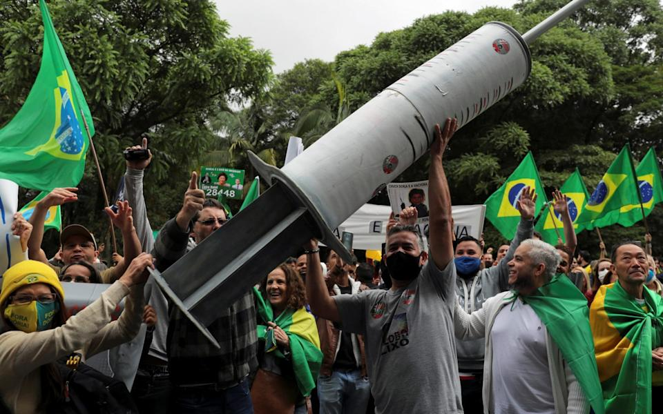 The decision to hold the trial in Sao Paulo sparked protests - Reuters