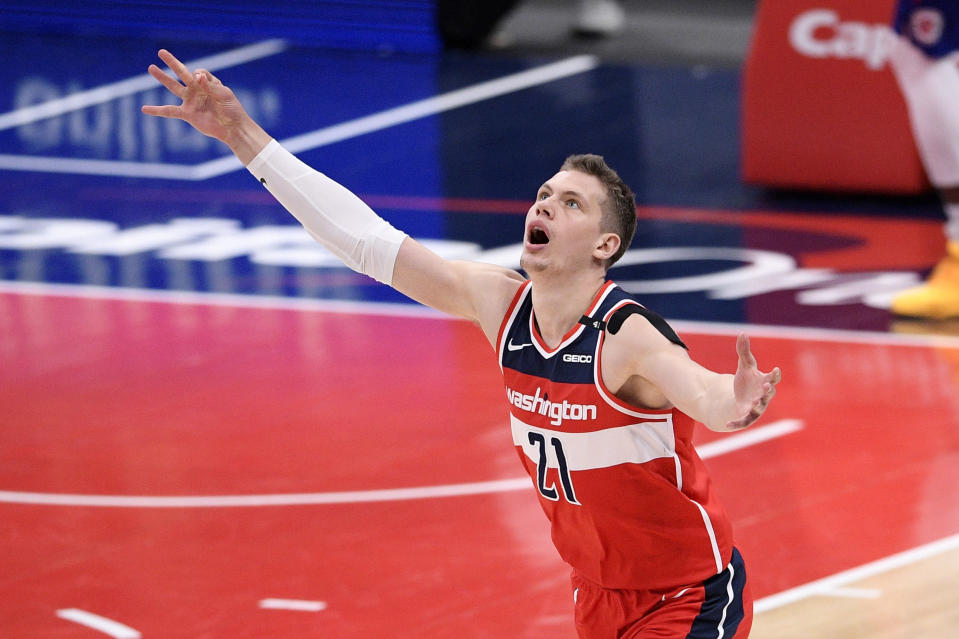 Washington Wizards center Moritz Wagner (21) reacts after he made a three-point basket during the second half of an NBA basketball game against the Los Angeles Clippers, Thursday, March 4, 2021, in Washington. (AP Photo/Nick Wass)