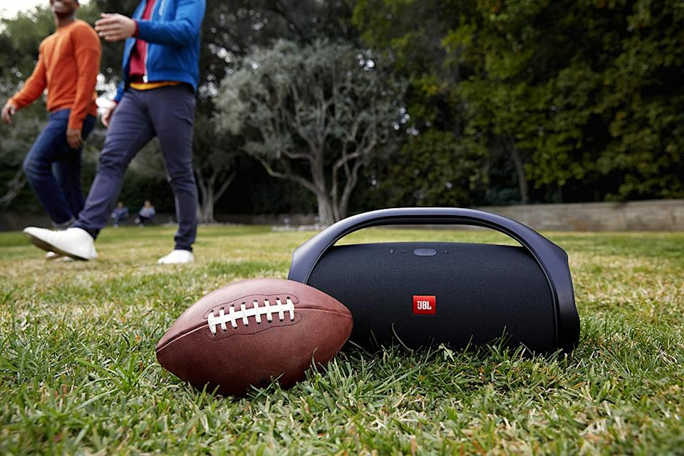 The JBL Boombox can take whatever you throw at it and keep on pumping. (Photo: Amazon)
