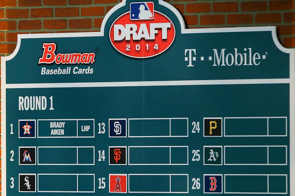 05 JUN 2014: Brady Aiken(not pictured) name put up as the First Pick at The 2014 MLB First Year Player Draft at MLB Network in Secaucus NJ. (Photo by Rich Graessle/Icon SMI/Corbis/Icon Sportswire via Getty Images)