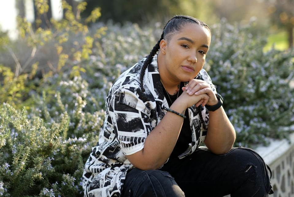 "Director Cierra Glaude poses for a portrait in Glendale, Calif. on Feb. 4, 2021. When the series ""Queen Sugar"" debuted in 2016, Glaude worked as a production assistant on the show. Five years later, she's been promoted to director for season five on the Oprah Winfrey Network series. (AP Photo/Chris Pizzello)"