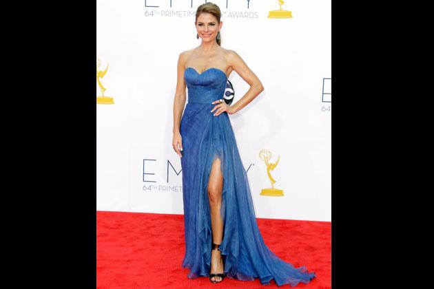 'Extra' co-host Maria Menounos arrives at the 64th Primetime Emmy Awards last Sepetember 2012 in a hard-to-miss blue gown by Oliver Tolentino. The slit is just downright sexy.