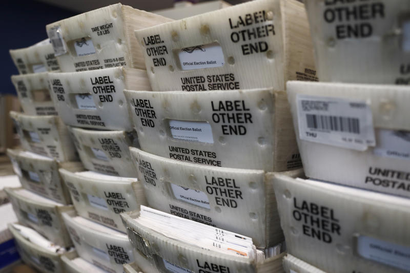 Processed mail-in ballots are seen at the Bucks County Board of Elections office prior to the primary election, Wednesday, May 27, 2020 in Doylestown, Pa. (AP Photo/Matt Slocum)