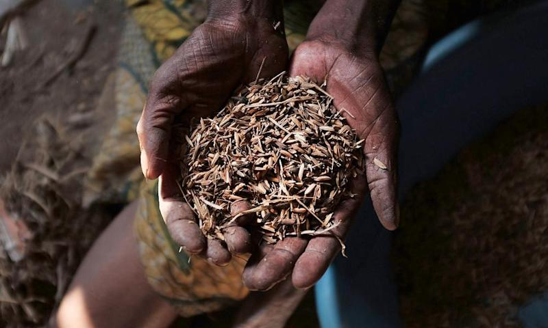 Crises that are under-reported are underfunded. Six of the countries listed appear in the UN's list of most underfunded emergencies. A Burundian woman holds up a handful of rice, some of the little food she has to feed her family.