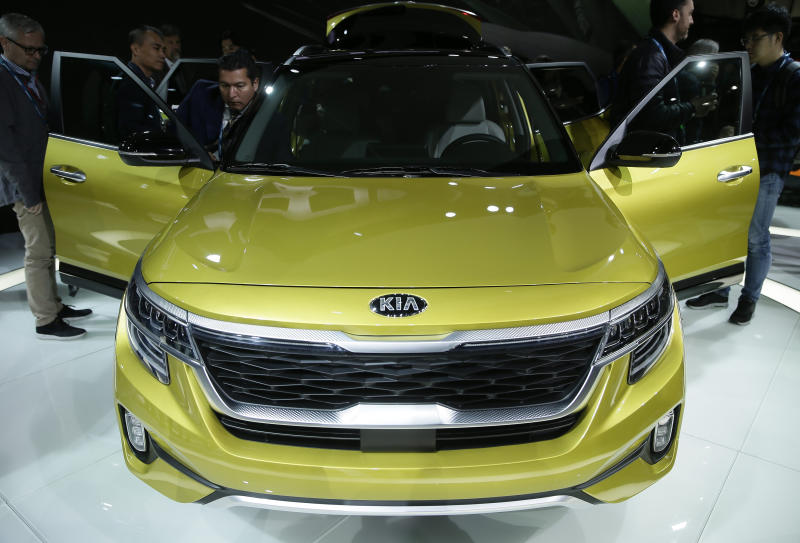 KIA introduces the All-New 2021 Kia Seltos at the AutoMobility LA Auto Show in Los Angeles, Wednesday, Nov. 20, 2019. (AP Photo/Damian Dovarganes)