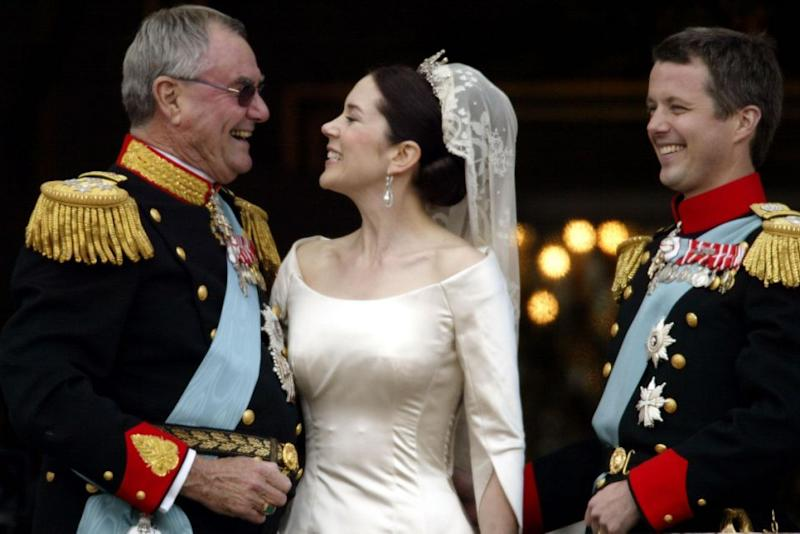 Princess Mary and Prince Henrik on her wedding day. Photo: Getty