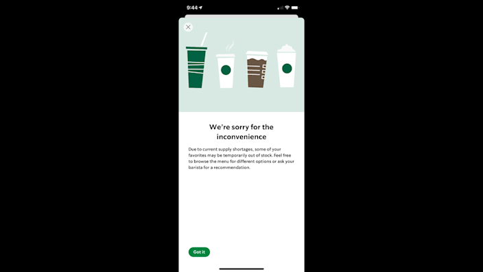 A message in the Starbucks app alerts customers to the supply shortage.