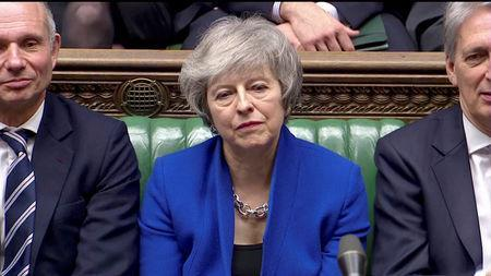 British Prime Minister Theresa May listens during a no confidence debate after Parliament rejected her Brexit deal, in London, Britain, January 16, 2019, in this screen grab taken from video. Reuters TV via REUTERS