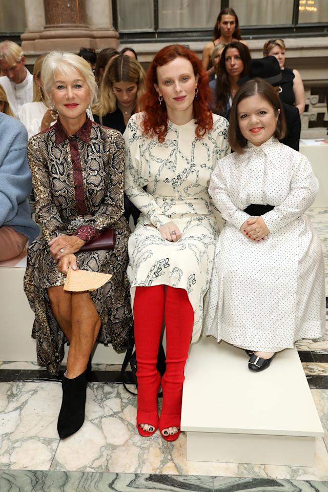 Helen Mirren, Karen Elson and Sinead Burke attend the Victoria Beckham show during London Fashion Week September 2019 at British Foreign and Commonwealth Office on September 15, 2019 in London, England. Photo courtesy of Getty Images.