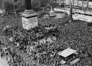 "<p>Europeans celebrated victory during Thanksgiving week after the end of World War II. People were encouraged to ""Save for reconstruction"" as a way of giving thanks that year.</p>"
