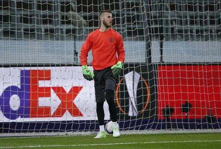 Football Soccer - RSC Anderlecht v Manchester United - UEFA Europa League Quarter Final First Leg - Constant Vanden Stock Stadium, Brussells, Belgium - 13/4/17 Manchester United's David De Gea warms up before the match  Action Images via Reuters / Andrew Couldridge Livepic