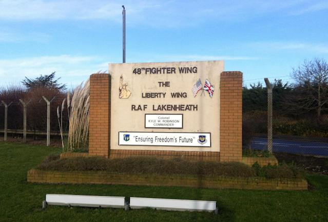The US fighter jet which crashed into the North Sea was based at RAF Lakenheath in Suffolk (PA)