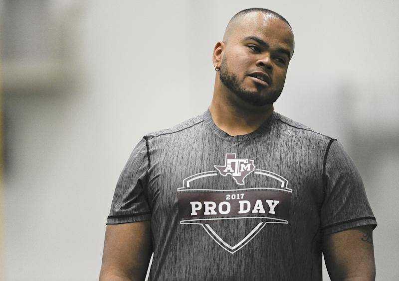 Former Texas A&M offensive lineman Jermaine Eluemunor takes in the Aggies' Pro Day this spring. (AP)
