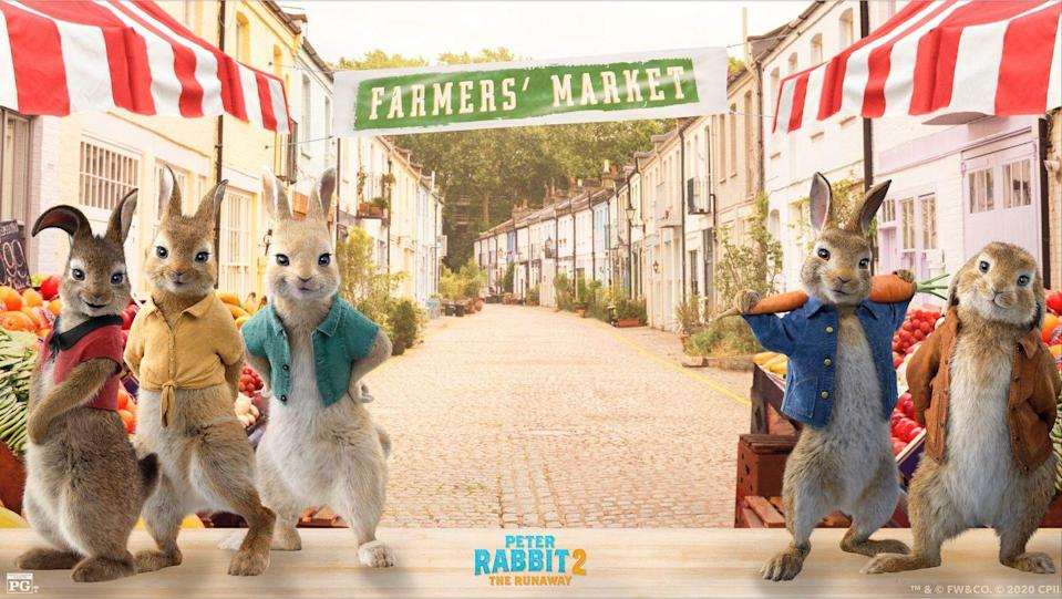 """<p>On the night before Easter, organize a virtual movie night to watch the first <em><a href=""""https://www.amazon.com/Peter-Rabbit-Margot-Robbie/dp/B079811DT2?tag=syn-yahoo-20&ascsubtag=%5Bartid%7C10055.g.35822780%5Bsrc%7Cyahoo-us"""" rel=""""nofollow noopener"""" target=""""_blank"""" data-ylk=""""slk:Peter Rabbit"""" class=""""link rapid-noclick-resp"""">Peter Rabbit</a></em> movie. Then make a plan to see the second movie, out May 14, while you're on the video call. </p><p><a class=""""link rapid-noclick-resp"""" href=""""https://twitter.com/PeterRabbit/status/1247937794699214849"""" rel=""""nofollow noopener"""" target=""""_blank"""" data-ylk=""""slk:DOWNLOAD HERE"""">DOWNLOAD HERE</a> </p>"""