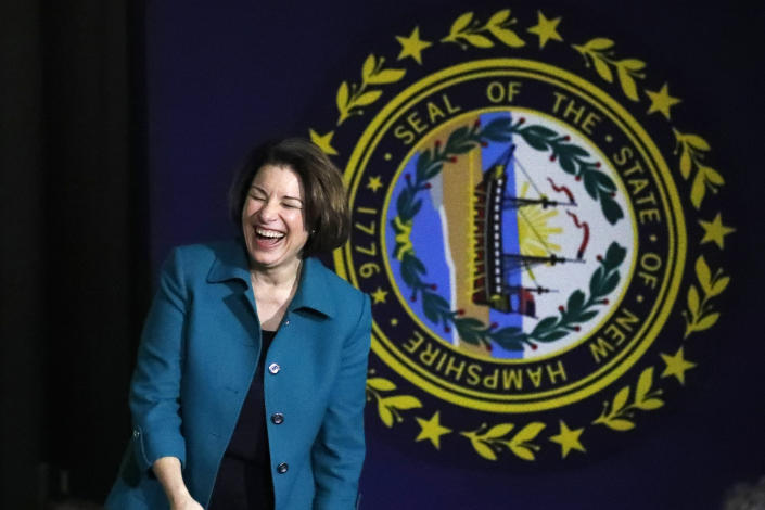 Sen. Amy Klobuchar, D-Minn., laughs as she speaks at a campaign event, Monday, Feb. 10, 2020, in Exeter, N.H. (Elise Amendola/AP)