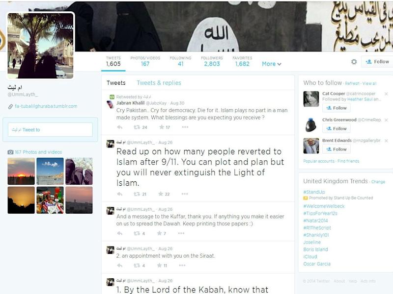British Isis member Aqsa Mahmood tweeted calls for terror attacks and urged people to travel Syria before her account was shut down (Twitter)